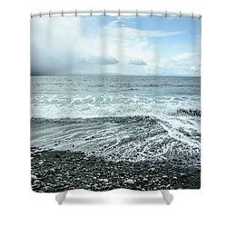 Moody Waves French Beach Shower Curtain