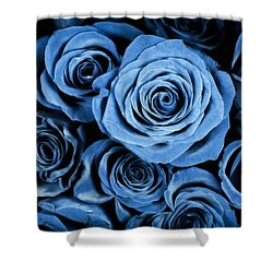 Moody Blue Rose Bouquet Shower Curtain by Adam Romanowicz