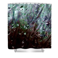 Shower Curtain featuring the photograph Moody Blues Rain On The Window Series 2 Abstract Photo by Marianne Dow