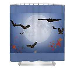 Moon And Bats Shower Curtain by Melissa A Benson