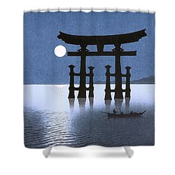 Moon And Torii Gate Shower Curtain