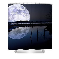 Moon At Night Shower Curtain