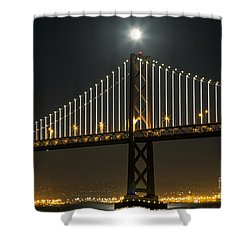 Shower Curtain featuring the photograph Moon Atop The Bridge by Kate Brown