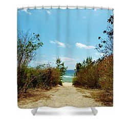 Shower Curtain featuring the photograph Moon Bay Walk by Amar Sheow