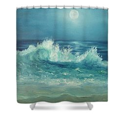 Moon Beach Painting Shower Curtain