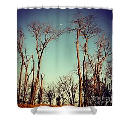 Shower Curtain featuring the photograph Moon Between The Trees by Kerri Farley