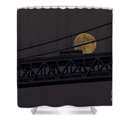Shower Curtain featuring the photograph Moon Bridge Bus by Kate Brown