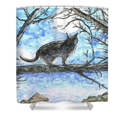 Shower Curtain featuring the painting Moon Cat by Teresa White