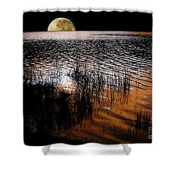 Moon Catching A Glimpse Of Sunset Shower Curtain