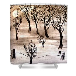 Moon Lit Fog Shower Curtain by Justin Moore
