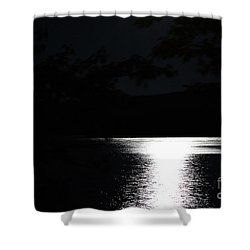 Shower Curtain featuring the photograph Moon On Waterton Lake by Ann E Robson