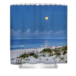Moon Over Beach Shower Curtain by Michael Thomas