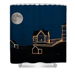 Moon Over Cape Neddick Shower Curtain by Guy Whiteley