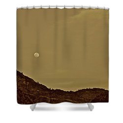 Moon Over Crag Utah Shower Curtain
