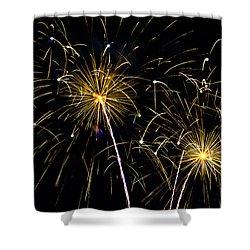 Moon Over Golden Starburst- July Fourth - Fireworks Shower Curtain