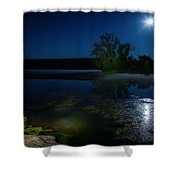 Moon Over Lake Shower Curtain by Alexey Stiop