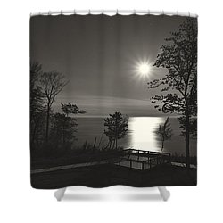 Moon Over Lake Michigan In  Black And White Shower Curtain