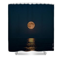 Moon Over Lake Of Shining Waters Shower Curtain by Barbara McMahon