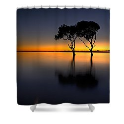 Moon Over Mangrove Trees Shower Curtain