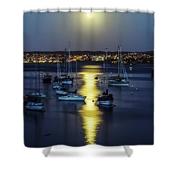 Moon Over Monterey Bay Shower Curtain by Joseph S Giacalone