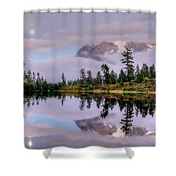 Moon Over Picture Lake Shower Curtain