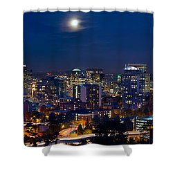 Moon Over Portland Oregon City Skyline At Blue Hour Shower Curtain