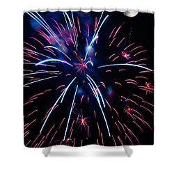 Moon Over Red White And Blue Starburst- July Fourth - Fireworks Shower Curtain by Penny Lisowski