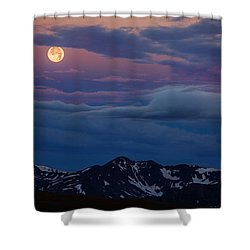 Moon Over Rockies Shower Curtain