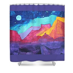 Shower Curtain featuring the painting Moon Over Sedona by Nancy Jolley