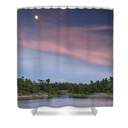 Moon Over The Bay Shower Curtain by Phill Doherty