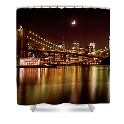 Moon Over The Brooklyn Bridge Shower Curtain by Mitchell R Grosky