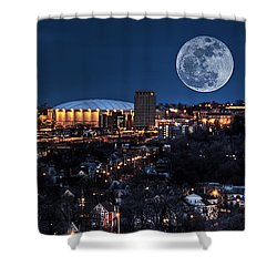 Moon Over The Carrier Dome Shower Curtain by Everet Regal