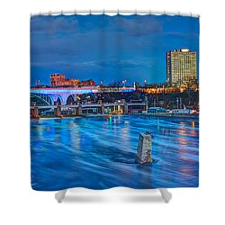 Moon Over The Mississippi Shower Curtain by Amanda Stadther