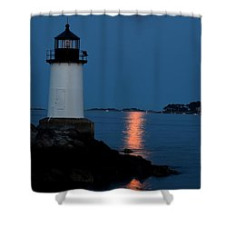 Moon Over Winter Island Salem Ma Shower Curtain