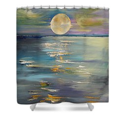 Moon Over Your Town/reflexion Shower Curtain by PainterArtist FIN
