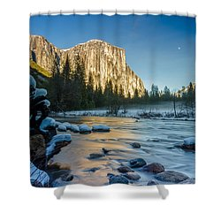 Moon Over El Capitan Shower Curtain