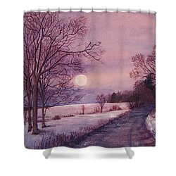 Shower Curtain featuring the painting Moon Rising by Joy Nichols