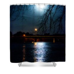 Shower Curtain featuring the photograph Moon Set Lake Pleasurehouse by Angela DeFrias