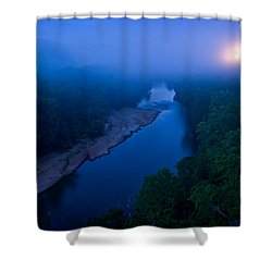 Moon Setting Over The Current River Shower Curtain