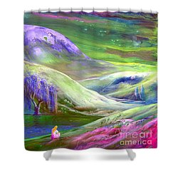 Shower Curtain featuring the painting Moon Shadow by Jane Small