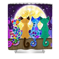 Moon Shadow Meow Shower Curtain