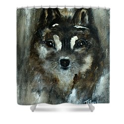 Shower Curtain featuring the painting Moon Shadow The Baby Fox by Barbie Batson