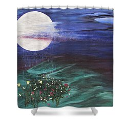 Shower Curtain featuring the painting Moon Showers by Cheryl Bailey