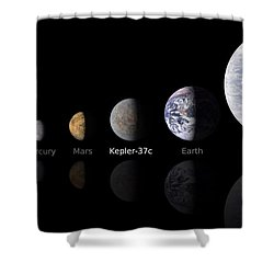 Moon Size Line Up Shower Curtain by Movie Poster Prints