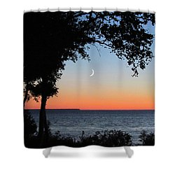 Moon Sliver At Sunset Shower Curtain