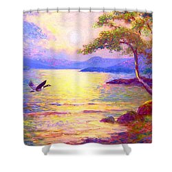 Shower Curtain featuring the painting  Wild Goose, Moon Song by Jane Small