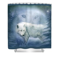 Moon Spirit 2 - White Wolf - Blue Shower Curtain