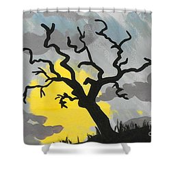 Moon Tree Shower Curtain by Marisela Mungia
