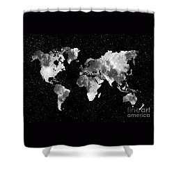 Moon World Map Shower Curtain by Delphimages Photo Creations
