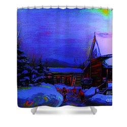 Moonglow On Powder Shower Curtain by Carole Spandau